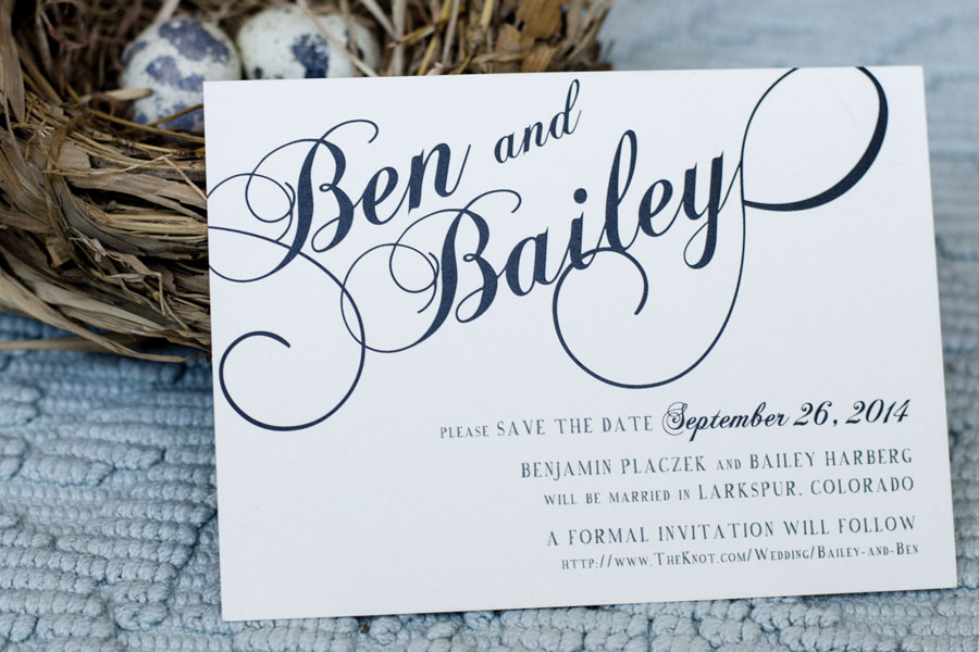 Classic Wedding Invitations for Ben and Bailey