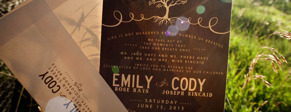 Wedding Invitations for Emily and Cody